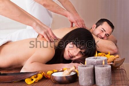 Photo stock: Couple · chaud · pierre · thérapie · spa