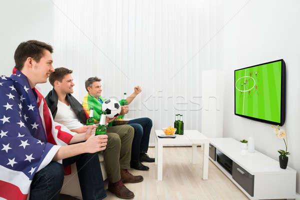 друзей различный смотрят футбола матча группа Сток-фото © AndreyPopov