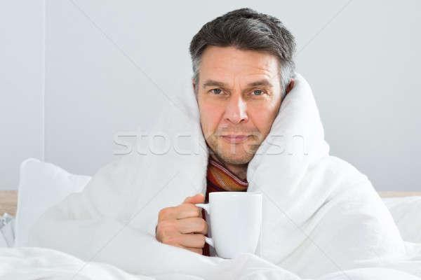 Photo stock: Maturité · malade · homme · tasse · café