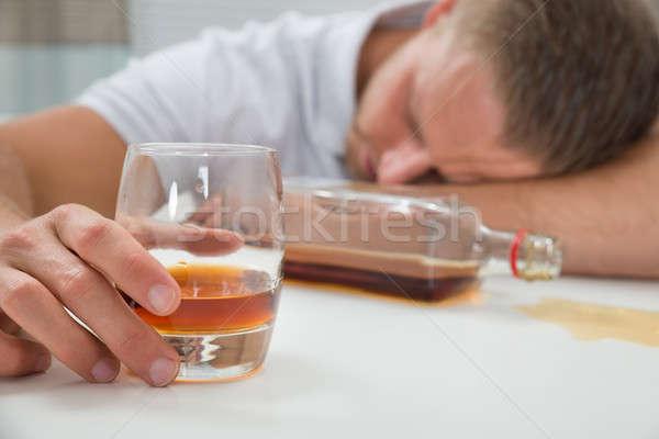 Sarhoş adam cam genç uyku Stok fotoğraf © AndreyPopov