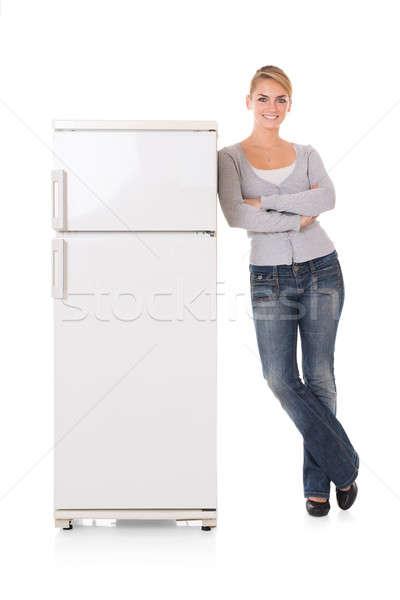 женщину холодильнике белый портрет Сток-фото © AndreyPopov