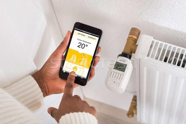 El cep telefonu termostat sıcaklık Stok fotoğraf © AndreyPopov