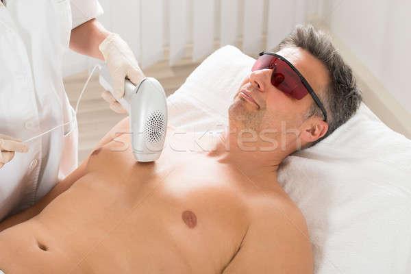 Lézer epiláció kezelés férfi érett férfi klinika Stock fotó © AndreyPopov