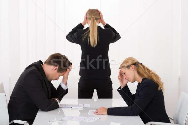 Szomorú üzletemberek iroda fiatal kezek fej Stock fotó © AndreyPopov