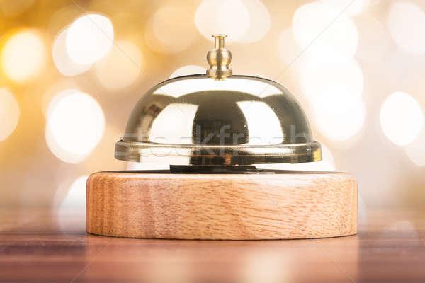 クローズアップ サービス 鐘 木製 デスク 表 ストックフォト © AndreyPopov
