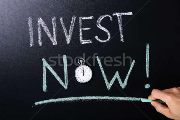 Invest Now Concept Written On Blackboard Stock photo © AndreyPopov