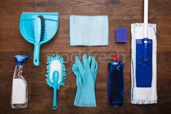 Cleaning Equipment On Wooden Desk Stock photo © AndreyPopov