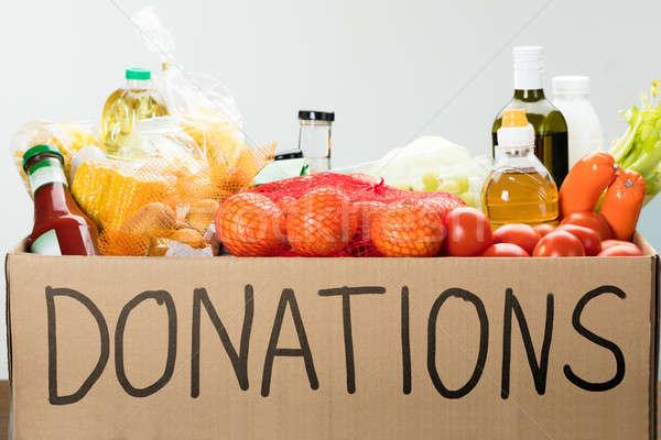 étel adomány doboz tele élelmiszer asztal Stock fotó © AndreyPopov