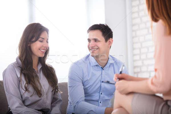 幸せ カップル コンサルタント 肖像 小さな 笑みを浮かべて ストックフォト © AndreyPopov