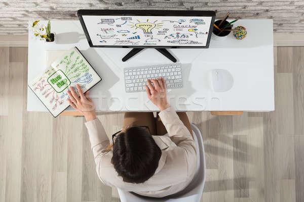Businesswoman Planning Start Up Plan On Computer Stock photo © AndreyPopov