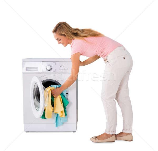 Lavandería lavadora sonriendo blanco feliz Foto stock © AndreyPopov