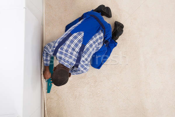 Craftsman Installing Carpet Stock photo © AndreyPopov