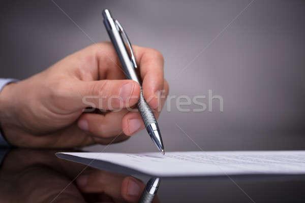 üzletember aláírás irat fotó kéz toll Stock fotó © AndreyPopov