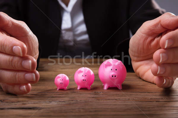 Businessperson's Hand Protecting Piggybanks Stock photo © AndreyPopov