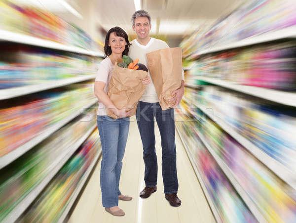 Photo stock: Couple · de · personnes · âgées · épicerie · sac · heureux · couple