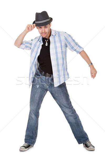 Stok fotoğraf: Genç · dansçı · dokunmak · şapka · bir · kol