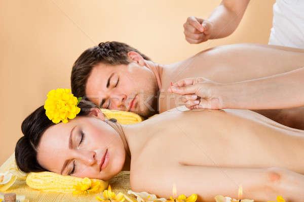 Paar acupunctuur behandeling spa Stockfoto © AndreyPopov