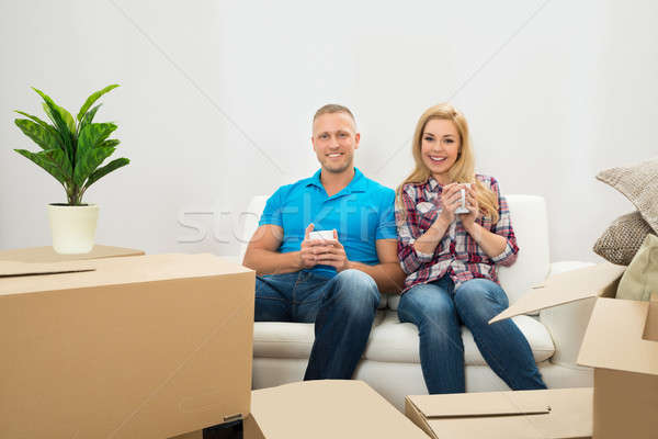 Stock photo: Young Couple Drinking Coffee