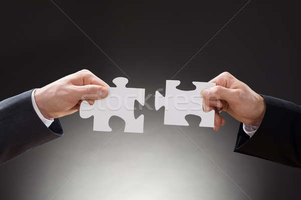 Two Businesspeople Holding Jigsaw Puzzle Pieces Stock photo © AndreyPopov