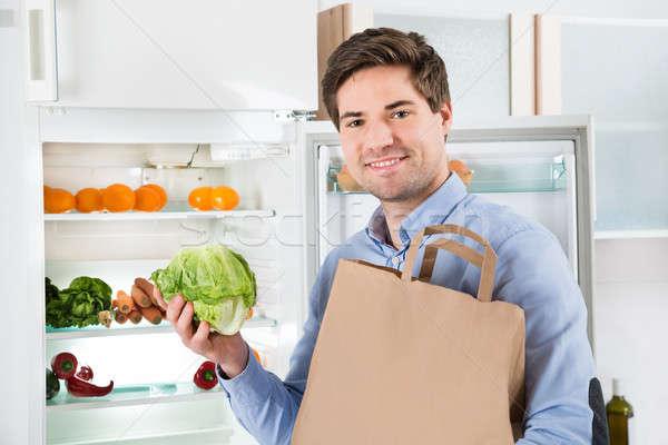 человека продуктовых сумку Постоянный открытых холодильник Сток-фото © AndreyPopov