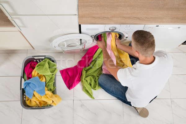 человека стиральная машина мнение молодым человеком прибор Сток-фото © AndreyPopov