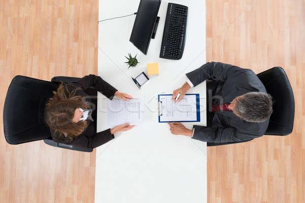 Biznesmen kobiet kandydat widoku dojrzały Zdjęcia stock © AndreyPopov