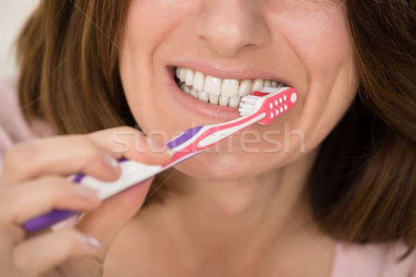 女性 歯ブラシ クローズアップ 歯 女性 ストックフォト © AndreyPopov