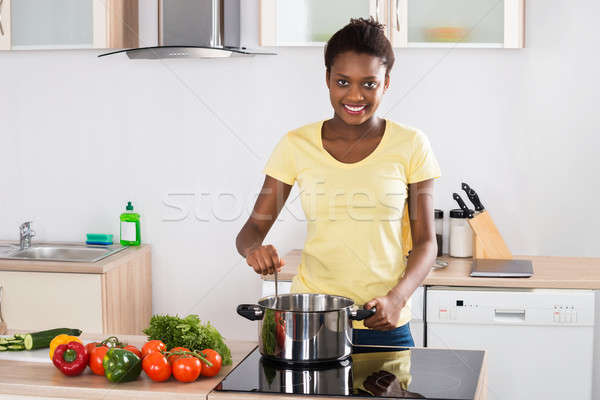 女性 料理 食事 キッチン 小さな 幸せ ストックフォト © AndreyPopov