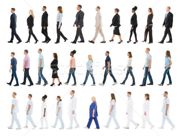 Collage Of People Walking In Line Stock photo © AndreyPopov