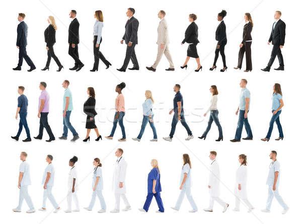 Kolaż ludzi spaceru line inny biały Zdjęcia stock © AndreyPopov