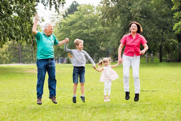 Dziadkowie wnuki skoki wraz parku szczęśliwy Zdjęcia stock © AndreyPopov