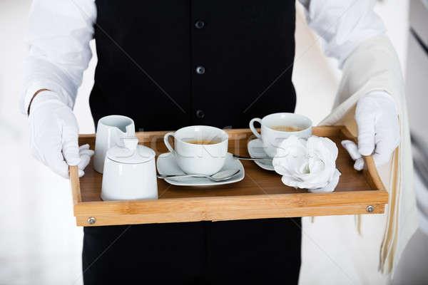 Kelner kawy zestaw Zdjęcia stock © AndreyPopov