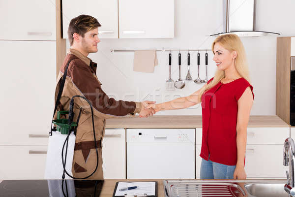 Woman Shaking Hands With Pest Control Worker Stock photo © AndreyPopov