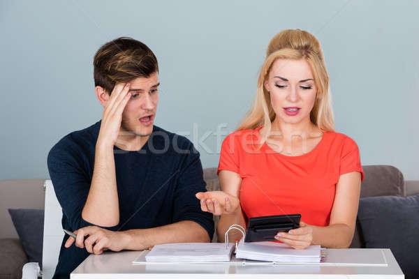 Preocupado casal financiar dívida Foto stock © AndreyPopov
