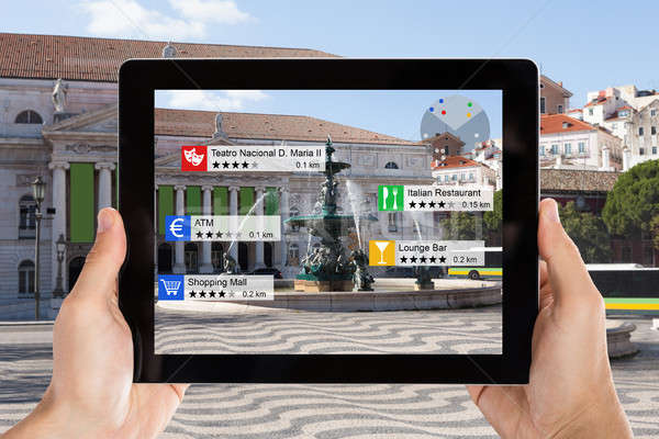Digital Tablet With Augmented Reality Tourist Information Stock photo © AndreyPopov