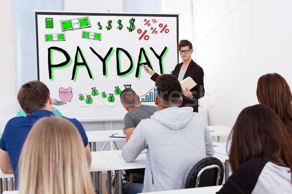 Professor dia de pagamento palestra grupo estudantes mulher Foto stock © AndreyPopov