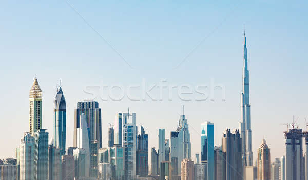 Futuristische skyline nieuwe business wijk zonsopgang Stockfoto © AndreyPopov