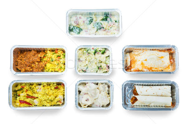 High Angle View Of Tasty Food In Foil Containers Stock photo © AndreyPopov