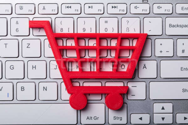 High Angle View Of Red Shopping Cart Stock photo © AndreyPopov