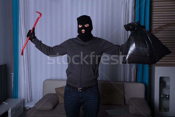 Robber Holding Plastic Bag And Crowbar Stock photo © AndreyPopov