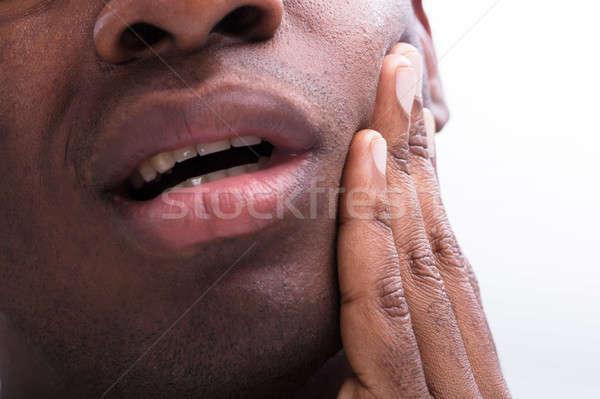 男 歯痛 クローズアップ 白 女性 手 ストックフォト © AndreyPopov