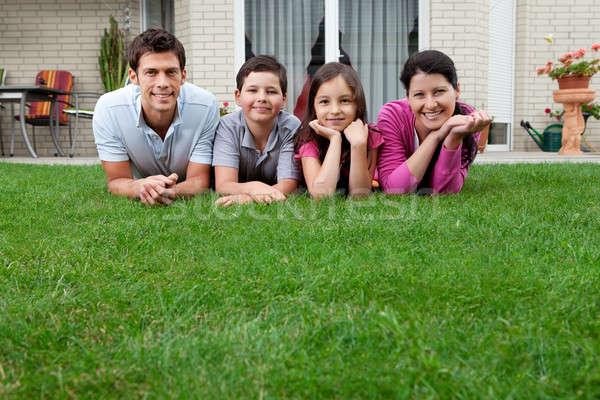 Stock fotó: Portré · boldog · fiatal · család · fű · kívül