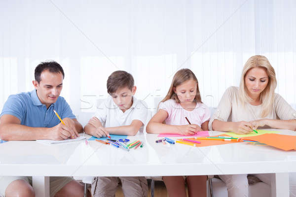 Family Drawing Together With Colorful Pencils Stock photo © AndreyPopov