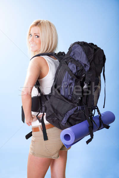 Beautiful young woman with backpack Stock photo © AndreyPopov