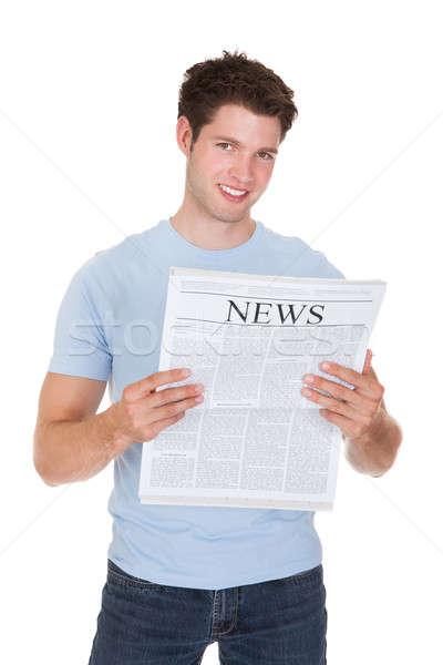 Man Reading Newspaper Stock photo © AndreyPopov