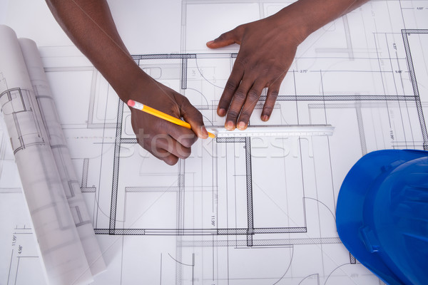 Draftsman Drawing Blueprint Stock photo © AndreyPopov