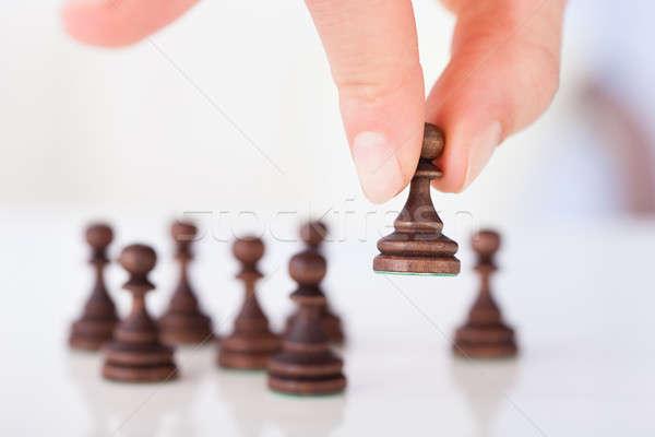 Hand schaken pion afbeelding tabel Stockfoto © AndreyPopov