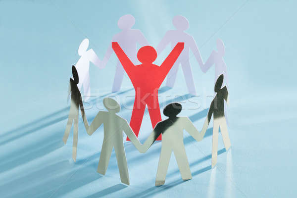 Successful Paperman Surrounded By Team Representing Unity Stock photo © AndreyPopov