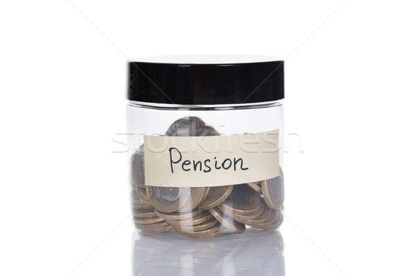 Pensão jarra moedas vidro isolado branco Foto stock © AndreyPopov