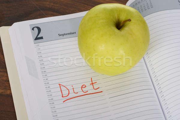 Dieet woord appel dagboek groene Stockfoto © AndreyPopov